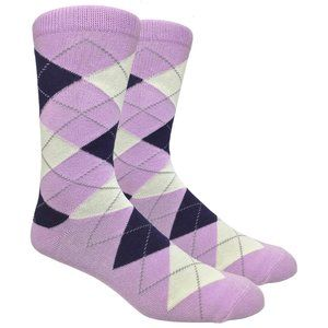 Men's Lilac Printed Argyle Dress Socks
